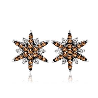 14K Vanilla Gold® Earrings with Chocolate Diamonds® 1 cts., Vanilla Diamonds® 3/8 cts. | YPLZ 1