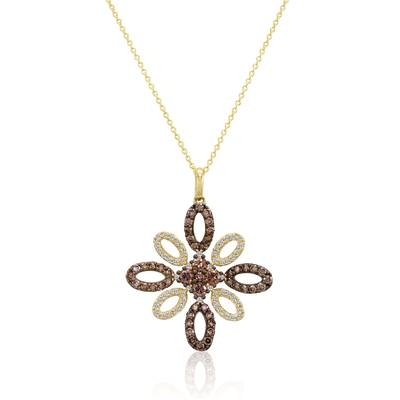 14K Honey Gold™ Pendant with Chocolate Diamonds® 1  1/3 cts., Vanilla Diamonds® 3/8 cts. | YPLZ 7