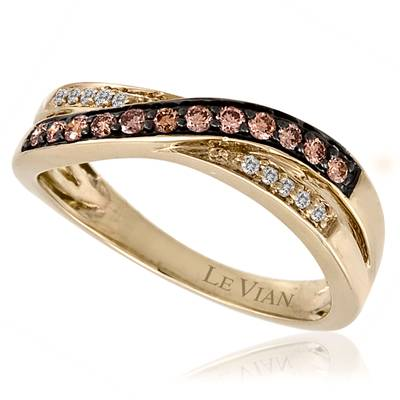14K Honey Gold™ Ring with Chocolate Diamonds® 1/5 cts., Vanilla Diamonds® 1/20 cts. | YPMG 30