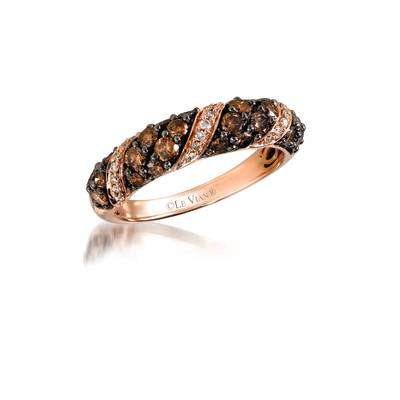 14K Strawberry Gold® Ring with Chocolate Diamonds® 1 cts., Vanilla Diamonds® 1/10 cts. | YPMG 31