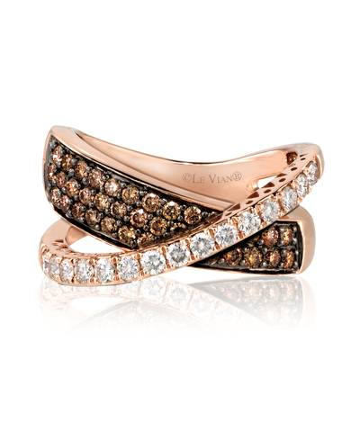 14K Strawberry Gold® Ring with Vanilla Diamonds® 1/2 cts., Chocolate Diamonds® 5/8 cts. | YPMG 42