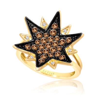 14K Honey Gold™ Ring with Chocolate Diamonds® 3/4 cts., Vanilla Diamonds® 1/20 cts. | YPPL 36