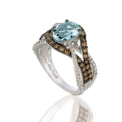 14K Vanilla Gold® Sea Blue Aquamarine® 1  3/8 cts. Ring with Chocolate Diamonds® 3/4 cts., Vanilla Diamonds® 1/4 cts. | YPPM 123