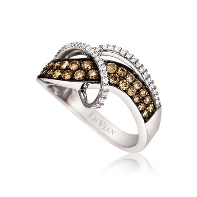 14K Vanilla Gold® Ring with Chocolate Diamonds® 5/8 cts., Vanilla Diamonds® 1/5 cts. | YPTG 3