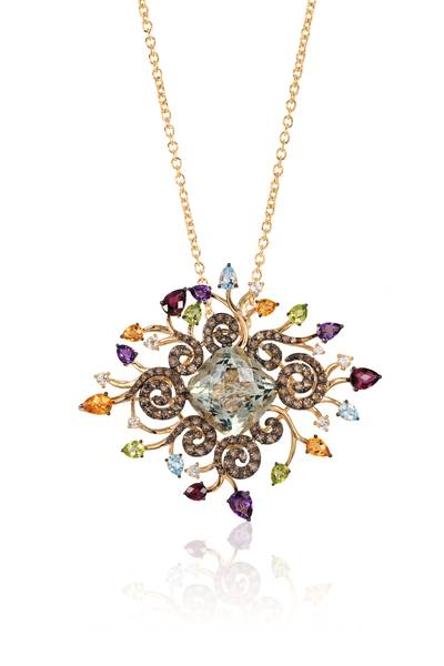 14K Honey Gold™ Mint Julep Quartz™ 23 1/2 cts., Multicolor Semiprecious 9 cts., Blue Topaz 1 cts. Pendant | YPUD 6