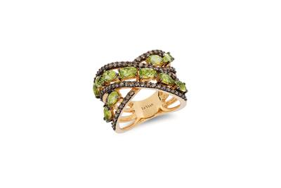 14K Honey Gold™ Green Apple Peridot™ 2 cts. Ring with Chocolate Diamonds® 3/4 cts. | YPUF 328