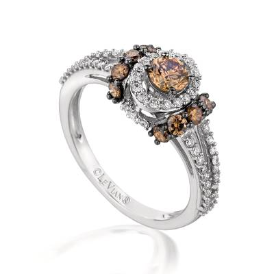 14K Vanilla Gold® Ring with Chocolate Diamonds® 3/4 cts., Vanilla Diamonds® 1/3 cts. | YPUP 1A