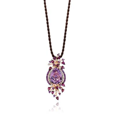 14K Strawberry Gold® Grape Amethyst™ 15 3/4 cts., Raspberry Rhodolite® 1  3/4 cts., Vanilla Topaz™ 3/4 cts. Pendant | YPUU 6