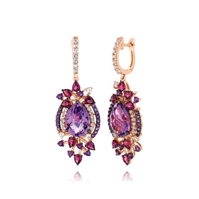 14K Strawberry Gold® Grape Amethyst™ 9  3/4 cts., Raspberry Rhodolite® 2  1/2 cts., Vanilla Topaz™ 1  1/5 cts. Earrings | YPUU 7