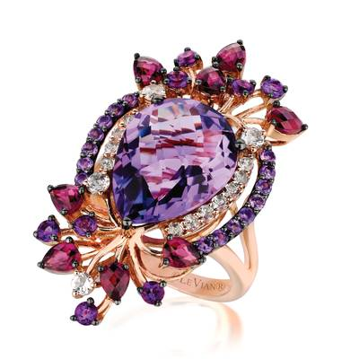 14K Strawberry Gold® Grape Amethyst™ 7 cts., Raspberry Rhodolite® 1 cts., Vanilla Topaz™ 5/8 cts. Ring | YPUU 8
