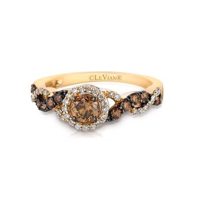 14K Honey Gold™ Ring with Chocolate Diamonds® 1/2 cts., Vanilla Diamonds® 1/6 cts. | YPVE 1