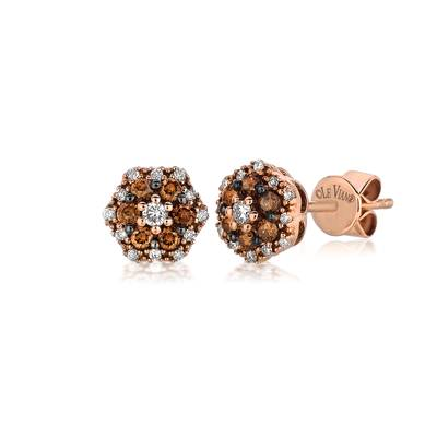 14K Strawberry Gold® Earrings with Vanilla Diamonds® 1/10 cts., Chocolate Diamonds® 1/5 cts. | YPVE 3