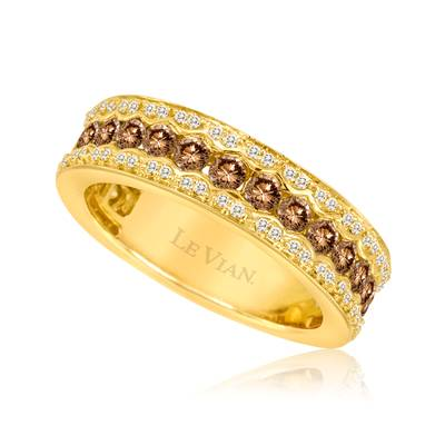 14K Honey Gold™ Ring with Chocolate Diamonds® 1 cts., Vanilla Diamonds® 1/5 cts. | YPVR 59