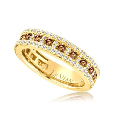 14K Honey Gold™ Ring with Chocolate Diamonds® 1/2 cts., Vanilla Diamonds® 1/2 cts. | YPVR 72