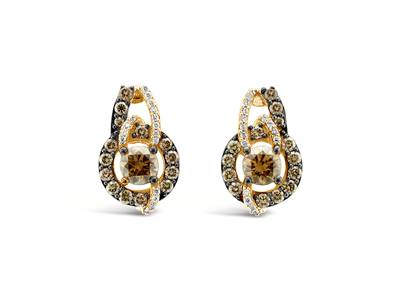 14K Strawberry Gold® Earrings with Chocolate Diamonds® 2 cts., Vanilla Diamonds® 1/8 cts. | YPVS 180