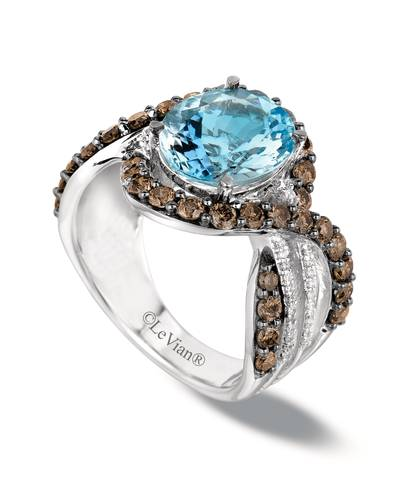 14K Vanilla Gold® Sea Blue Aquamarine® 2  3/4 cts., Chocolate Quartz® 1 cts. Ring with Vanilla Diamonds® 1/8 cts. | YPWI 2