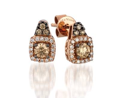 14K Strawberry Gold® Earrings with Chocolate Diamonds® 1/3 cts., Vanilla Diamonds® 1/10 cts. | YPWV 3
