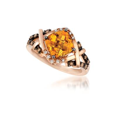 14K Strawberry Gold® Cinnamon Citrine® 1  5/8 cts. Ring with Chocolate Diamonds® 1/8 cts., Vanilla Diamonds® 1/20 cts. | YPXH 211CT