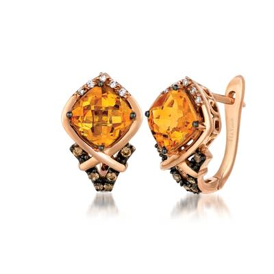 14K Strawberry Gold® Cinnamon Citrine® 2  1/2 cts. Earrings with Chocolate Diamonds® 1/8 cts., Vanilla Diamonds® 1/20 cts. | YPXH 217CT