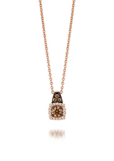 14K Strawberry Gold® Pendant with Chocolate Diamonds® 1/5 cts., Vanilla Diamonds® 1/20 cts. | YPYM 1