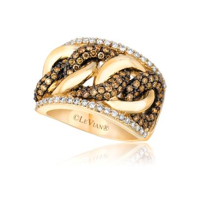 14K Honey Gold™ Ring with Chocolate Diamonds® 1  1/8 cts., Vanilla Diamonds® 3/8 cts. | YPYW 23