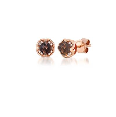 14K Strawberry Gold® Chocolate Quartz® 7/8 cts. Earrings with Vanilla Diamonds® 1/15 cts. | YPZD 2