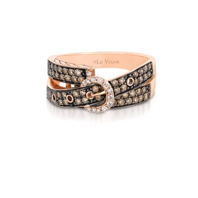 14K Strawberry Gold® Ring with Chocolate Diamonds® 3/4 cts., Vanilla Diamonds® 1/10 cts. | YQAI 1