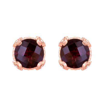 14K Strawberry Gold® Raspberry Rhodolite® 4  1/2 cts. Earrings with Vanilla Diamonds® 1/10 cts. | YQAZ 2