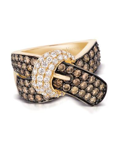 14K Honey Gold™ Ring with Chocolate Diamonds® 2  1/6 cts., Vanilla Diamonds® 3/8 cts. | YQBQ 2