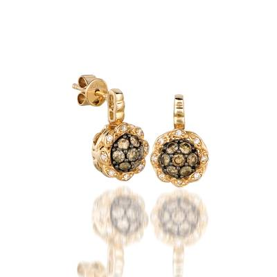 14K Honey Gold™ Earrings with Chocolate Diamonds® 1/2 cts., Vanilla Diamonds® 1/15 cts. | YQBW 3