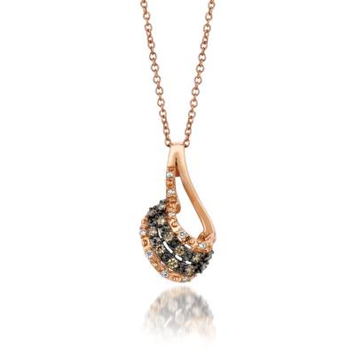 14K Strawberry Gold® Pendant with Chocolate Diamonds® 1/8 cts., Vanilla Diamonds® 1/20 cts. | YQCM 118