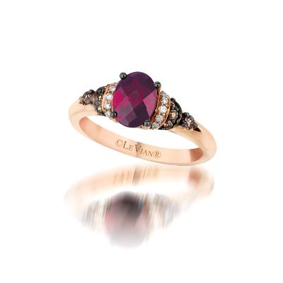 14K Strawberry Gold® Raspberry Rhodolite® 1  1/3 cts. Ring with Chocolate Diamonds® 1/8 cts., Vanilla Diamonds® 1/20 cts. | YQDJ 2