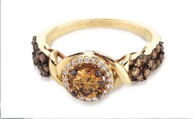 14K Honey Gold™ Ring with Chocolate Diamonds® 7/8 cts., Vanilla Diamonds® 1/10 cts. | YQEA 2