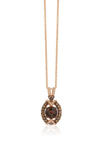 14K Strawberry Gold® Chocolate Quartz® 3/4 cts. Pendant with Chocolate Diamonds® 1/4 cts., Vanilla Diamonds® 1/15 cts. | YQEJ 218