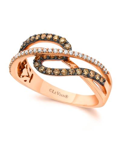 14K Strawberry Gold® Ring with Chocolate Diamonds® 1/3 cts., Vanilla Diamonds® 1/10 cts. | YQEN 1
