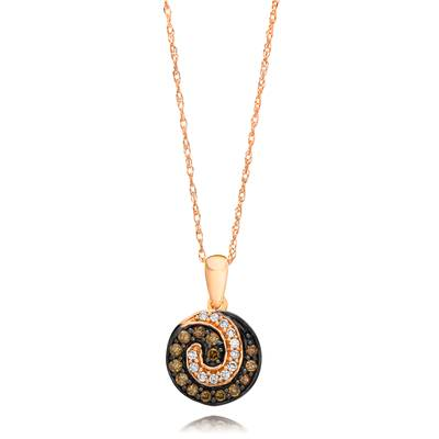 14K Strawberry Gold® Pendant with Chocolate Diamonds® 1/6 cts., Vanilla Diamonds® 1/20 cts. | YQEN 32