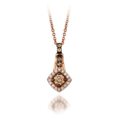 14K Strawberry Gold® Pendant with Chocolate Diamonds® 1/5 cts., Vanilla Diamonds® 1/15 cts. | YQEN 52