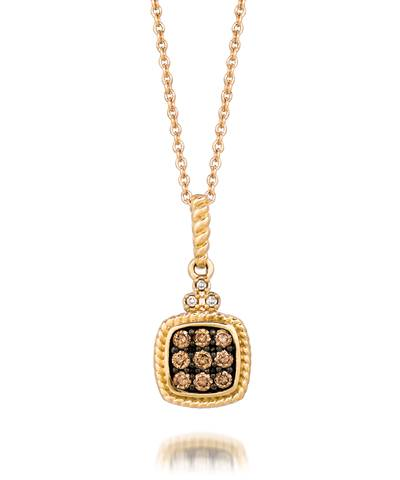 14K Honey Gold™ Pendant with Chocolate Diamonds® 1/6 cts., Vanilla Diamonds®  cts. | YQEN 85