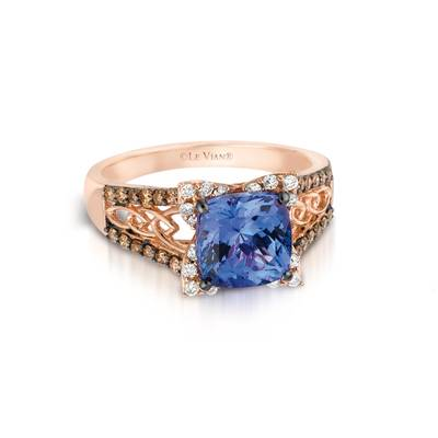 14K Strawberry Gold® Blueberry Tanzanite® 2 cts. Ring with Chocolate Diamonds® 1/4 cts., Vanilla Diamonds® 1/5 cts. | YQFO 3