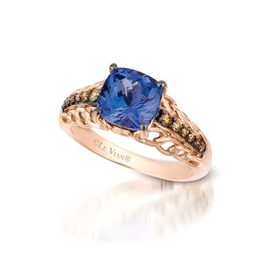 14K Strawberry Gold® Blueberry Tanzanite® 2 cts. Ring with Chocolate Diamonds® 1/5 cts., Vanilla Diamonds® 1/20 cts. | YQFO 4