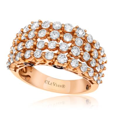 14K Strawberry Gold® Ring with Vanilla Diamonds® 2 cts., Chocolate Diamonds® 1/8 cts. | YQFT 26