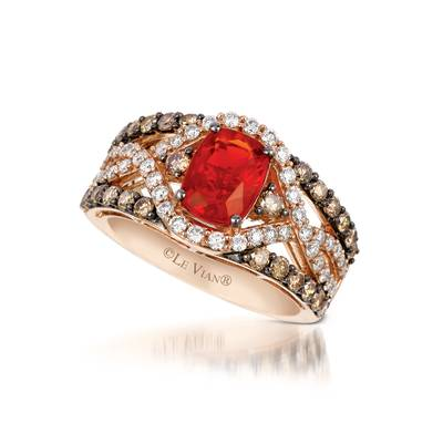 14K Strawberry Gold® Neon Tangerine Fire Opal® 7/8 cts. Ring with Chocolate Diamonds® 5/8 cts., Vanilla Diamonds® 1/2 cts. | YQGF 1