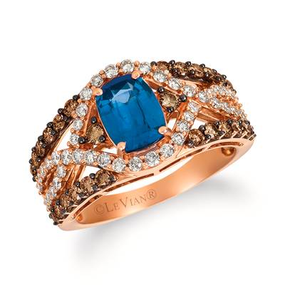 14K Strawberry Gold® Cornflower Ceylon Sapphire™ 1  3/8 cts. Ring with Chocolate Diamonds® 5/8 cts., Vanilla Diamonds® 1/2 cts. | YQGF 1CY-070
