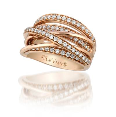 14K Strawberry Gold® Ring with Vanilla Diamonds® 1 cts. | YQGJ 5