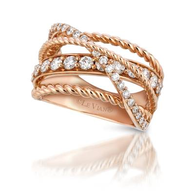 14K Strawberry Gold® Ring with Vanilla Diamonds® 1 cts. | YQGJ 51