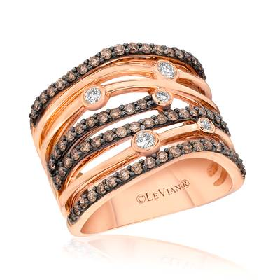 14K Strawberry Gold® Ring with Vanilla Diamonds® 1/8 cts., Chocolate Diamonds® 3/4 cts. | YQGS 17