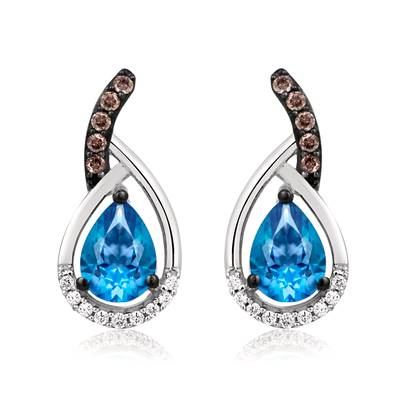 14K Vanilla Gold® Ocean Blue Topaz™ 1  3/8 cts. Earrings with Chocolate Diamonds® 1/10 cts., Vanilla Diamonds® 1/15 cts. | YQHB 9