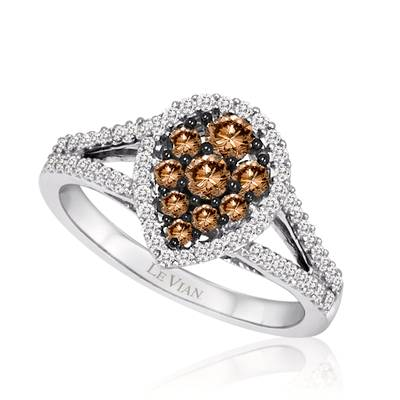 14K Vanilla Gold® Ring with Chocolate Diamonds® 3/8 cts., Vanilla Diamonds® 1/3 cts. | YQHD 17