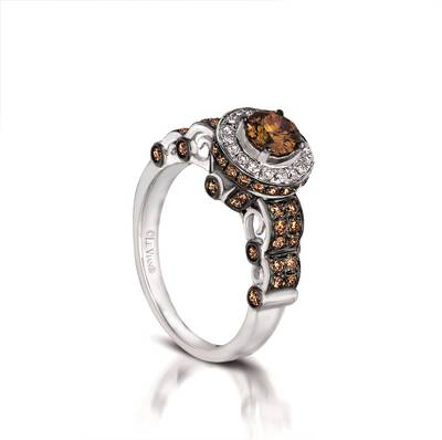 14K Vanilla Gold® Ring with Chocolate Diamonds® 1 cts., Vanilla Diamonds® 1/8 cts. | YQHD 8