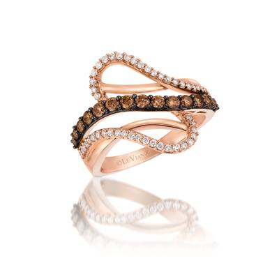 14K Strawberry Gold® Ring with Chocolate Diamonds® 3/8 cts., Vanilla Diamonds® 1/4 cts. | YQHI 2